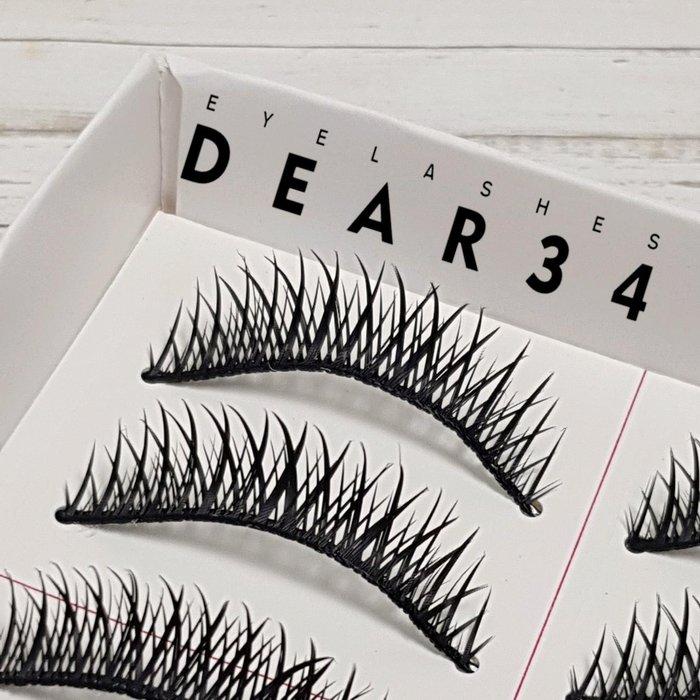《Dear34》短款E-4硬梗交叉小濃密濃黑眼中長假睫毛上睫毛一盒十對價