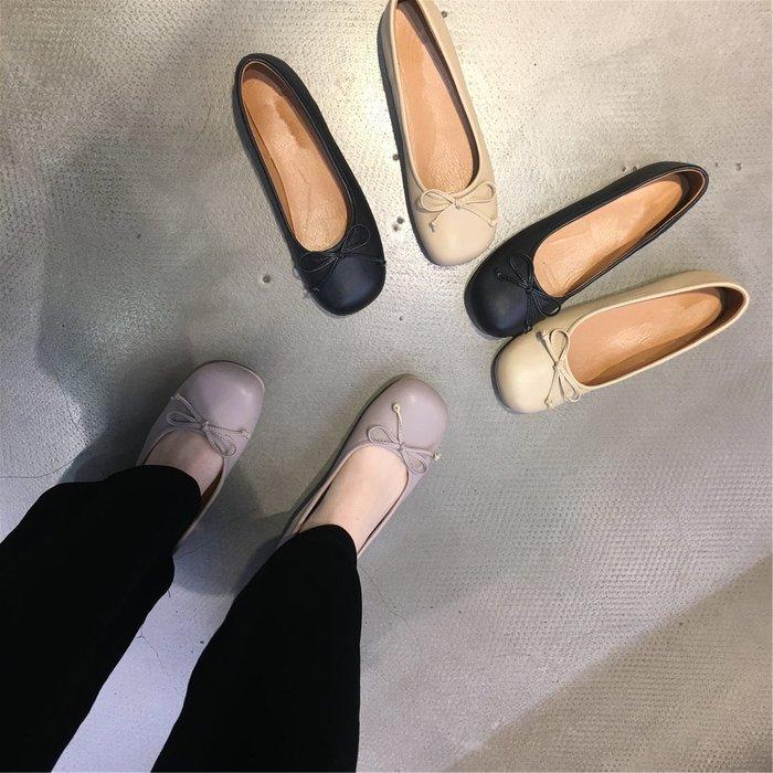 Jensbsh~萌萌噠可愛大頭單鞋女2020新款蝴蝶結淺口平底鞋女百搭豆豆鞋