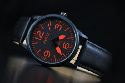 168錶帶配件 /視覺系-潮店熱賣,軍風pilot style飛行風戰鬥機儀錶板,造型石英錶黑色真皮錶帶橘色刻度