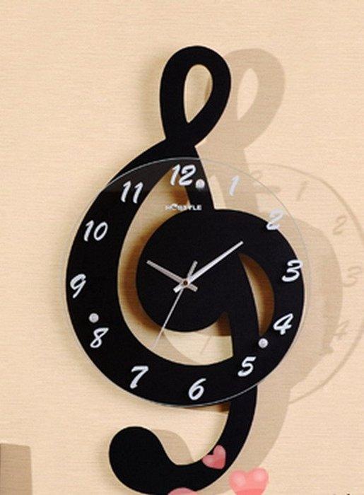 ╰☆美弦樂器☆╯音符創意掛鐘(黑色)