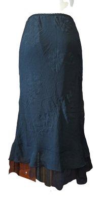 一元起標!裙襬黑紗百花朵圖案透光及膝裙 -YP