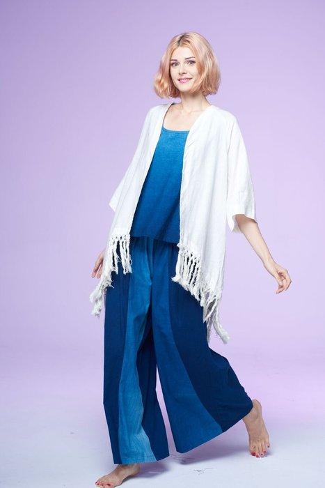 !中國藍Anewei亞麻Linen米白流蘇外罩衫-F-另有粉藕.深藍