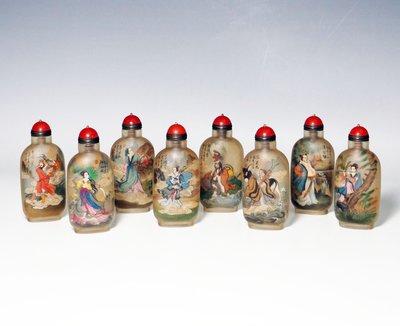 [天地居] 琉璃內繪 內畫 鼻煙壺  八仙 丁二仲款 附盒 八件合拍