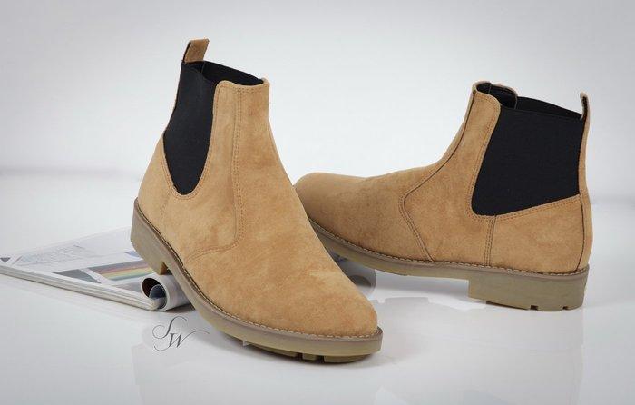 。SW。【W51159】免運費 正韓 韓國製 修身增高顯瘦 質感 麂皮感 短絨 黃 素面短靴 英式潮流 歐美IG