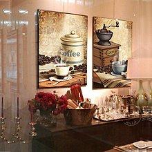 個性咖啡廳裝飾畫歐美複古懷舊咖啡店西餐廳掛畫無框畫咖啡館壁畫(2件一組)