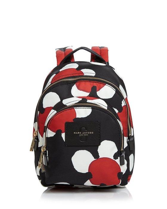 Coco 小舖 MARC JACOBS Mini Daisy Backpack 迷你雛菊印花黑色尼龍後背包