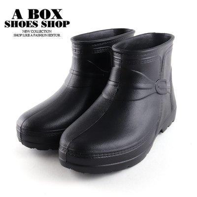 格子舖*【KNLM-602】男款雨靴(男鞋26~28)3cm短靴 全防水輕量休閒純色防水雨靴