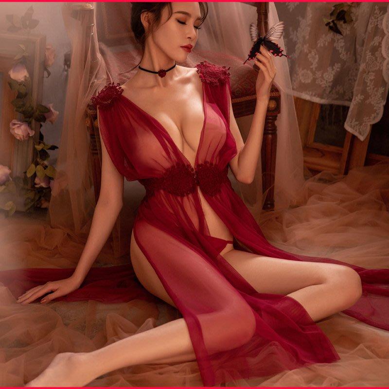 【宓兒喜】【TM21】夢幻精靈系女神。長版透膚睡衣】超仙氣睡衣。深V側邊高叉。適合蜜月情人節。紗裙。前扣式穿法