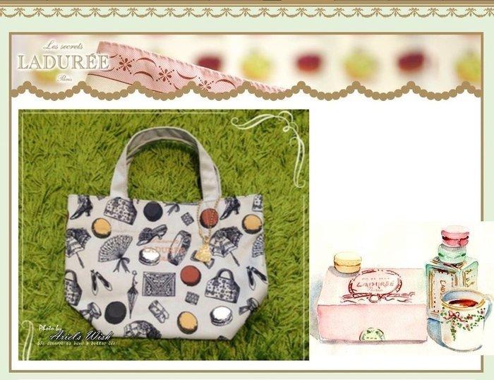 Ariel's Wish-日本Laduree灰色法式歐風圖騰附蛋糕甜點掛飾高質感手提包手提袋便當袋外出包野餐包-絕版款式