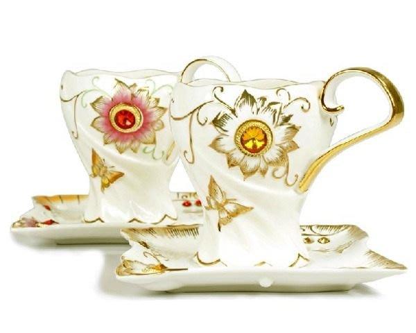 5Cgo【鴿樓】琺琅瓷 歐式鑲鑽  花茶茶杯水杯花式咖啡杯小資貴婦 陶瓷杯 (二組1仟免運)