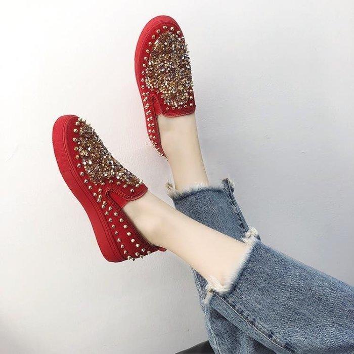 懶人鞋 一腳蹬女秋季新款平底鞋韓版百搭單鞋時尚運動鉚釘懶人女鞋潮 探索