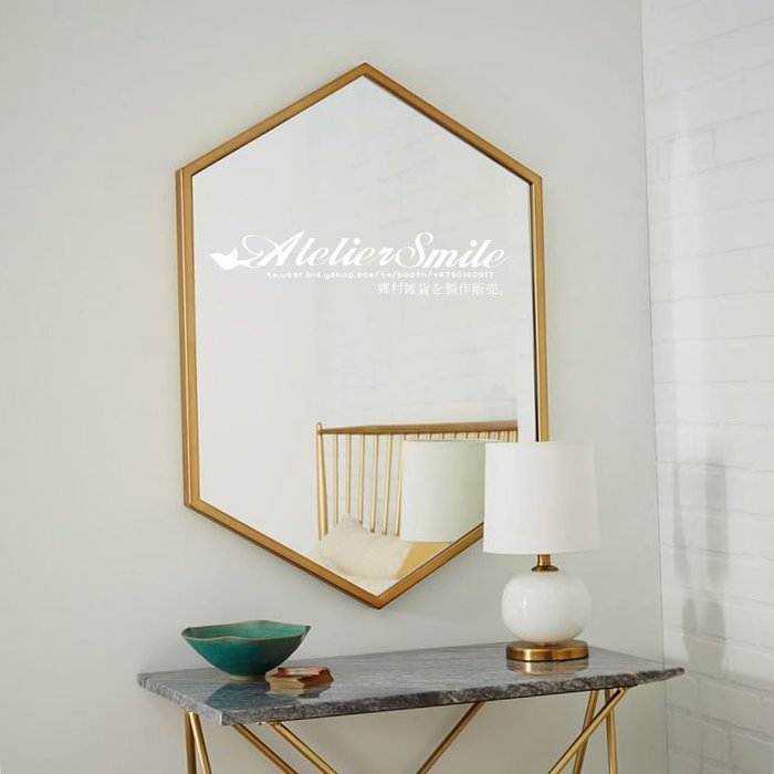 [ Atelier Smile ]  鄉村雜貨 北歐風 簡約 金邊壁掛鏡 多邊形 浴室鏡 # 新品免運 # 50X70