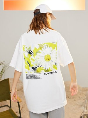 Anne運動服潮流觀止SSUR PLUS休閒聯名RAVENOUS雛菊油畫印運動花短袖寬松情侶T恤男女