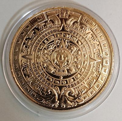 瑪雅日晷鍍金紀念章1枚。---(合金鍍金-紀念章不是金幣不是銀幣)