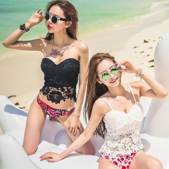 泳裝 性感蕾絲碎花兩件式比基尼泳裝【O3332】☆雙兒網☆