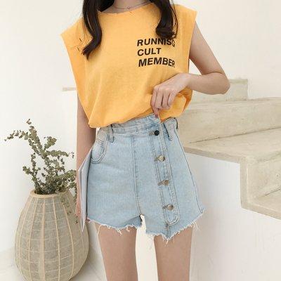 夏季新款韓版高腰顯瘦不規則一排扣A字闊腿洗水牛仔短褲熱褲女潮