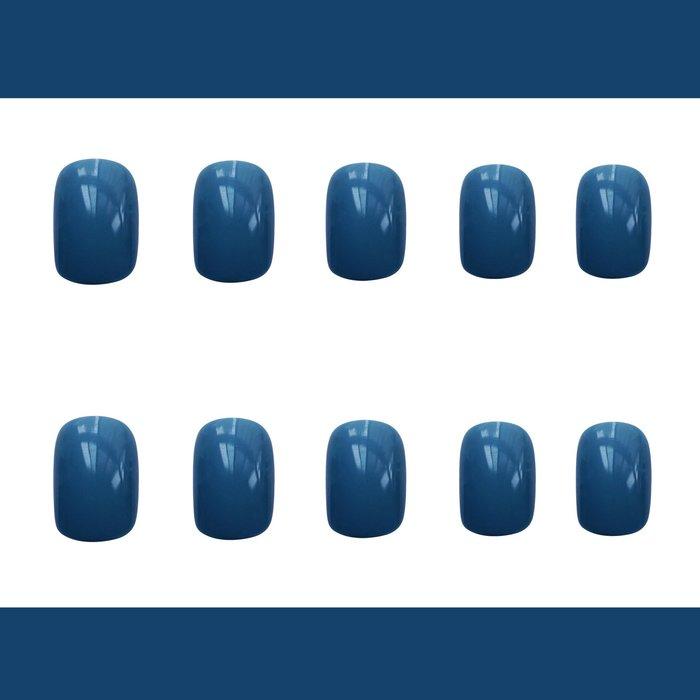 壹畫 正韓 港風 藍色磨砂短款美甲貼片成品顯白穿戴式可拆卸可穿戴假指甲持久甲片