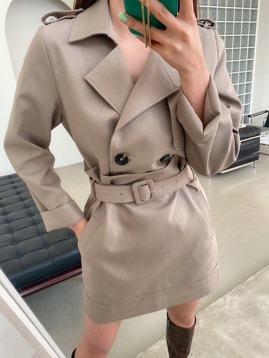 *~fuyumi boutique~*100%正韓 冬裝新款 假兩件風衣造型洋裝 SM