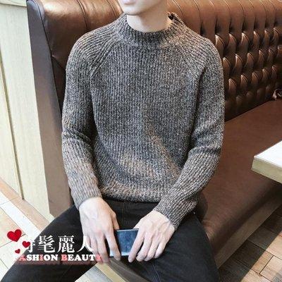 秋冬季毛衣男潮流寬鬆學生半高領針織衫男士青少年打底衫線衣