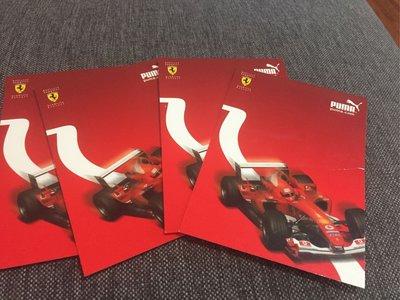 新年明信片-Puma法拉利跑車紅色喜氣洋明信片15*10.5cm四張合售-有些泛黃狀況如照片