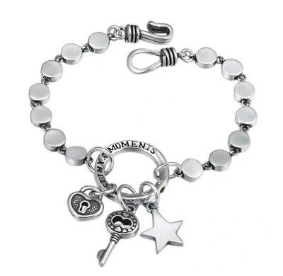 嗨,寶貝銀飾珠寶* 925純銀☆925純銀泰銀 歐美風 時尚飾品 潮人流行 簡約 創意個性 星星鑰匙純銀手鍊 適合男女配戴