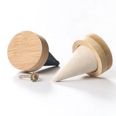hello小店-天然竹木圓底尖指戒指展示架飾品戒指托座珠寶首飾展示架#飾品架#展示道具#
