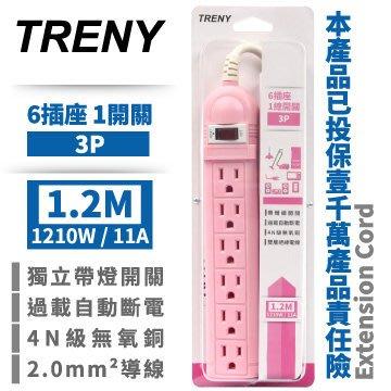【TRENY直營】TRENY1開6插3P延長線-1.2M (粉紅) 2.0mm2導線 1000萬責任險 2010
