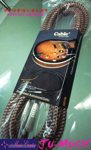 造韻樂器音響- JU-MUSIC - Warwick 3米(10呎) 直頭 專業 導線 深紅色 電吉他 電貝斯 電子琴 適用