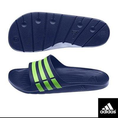 【鞋印良品】adidas 愛迪達 DURAMO SLIDE 藍 綠 三條 一體成型 運動 拖鞋 輕量 防水 G95489