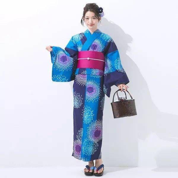 01 日本全棉正統和服浴衣藍色煙花 古典花色
