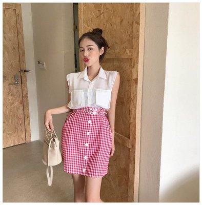 百搭 潮流 時尚 個性 韓版時尚氣質口袋襯衣+ 半身裙兩件套套裝送腰帶