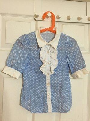 A036 Nicholas & Bears 女童天藍水玉點點七分袖襯衫 6Y 法式 韓風 Jacadi風