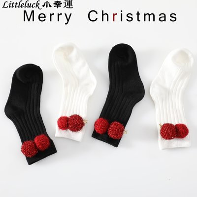 童裝兒童襪子男女寶寶秋冬精梳棉毛毛球圣誕襪1-3-6歲中小童短筒襪