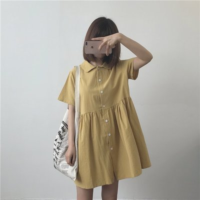 Dora【CC200】現貨.法式可愛娃娃連身裙-姜黃短款M