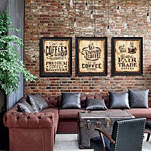 美式咖啡廳西餐廳吧台格調複古裝飾畫壁飾牆飾掛畫(三款可選)