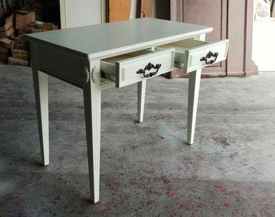 美生活館 全新 家具客訂 古典風格 全原木 兩抽 象牙白色 書桌 秘書桌 寫字桌 工作桌 美甲桌 店面 民宿 居家