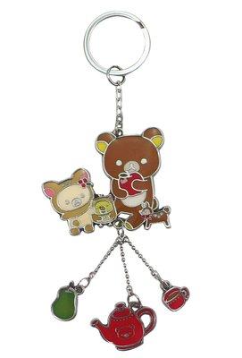 【卡漫迷】 拉拉熊 鑰匙圈 下午茶 ㊣版 rilakkuma 鋅合金 手機吊飾 包包掛飾 拉鍊 掛環 懶懶熊