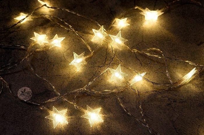 (缺貨)裝飾燈串_星星20顆(電池)3米_B107-008◎串燈.燈具.星星.裝飾燈.聖誕節.布置.裝飾