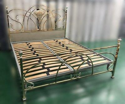 台中二手家具 大里宏品全新中古傢俱*B122912金色6*7尺床架 床底 滿千送百豐富商品超多喜悅 書桌衣櫃電腦桌椅