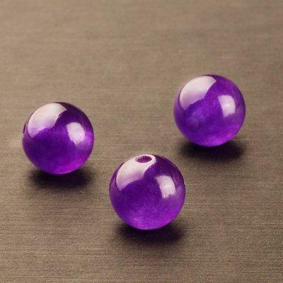 紫玉髓散珠子圓珠紫色石英巖質玉髓 串珠DIY手工飾品配件
