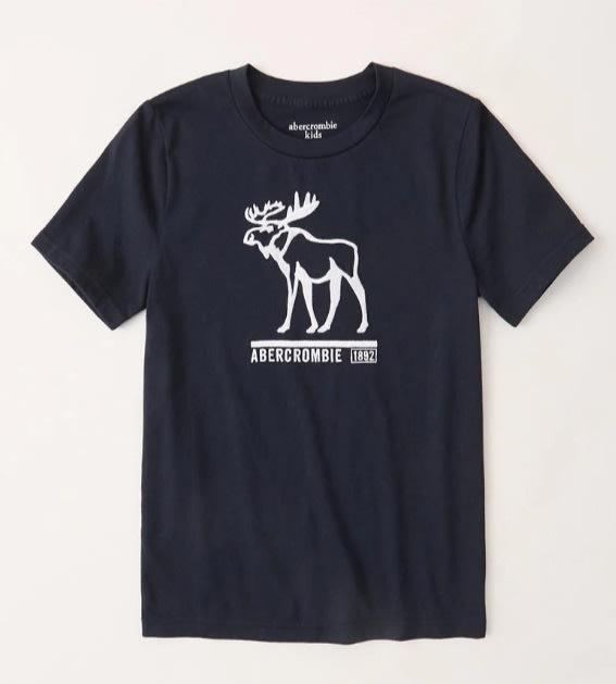 AF A&F abercrombie kids 經典款 大男童 車繡 logo 麋鹿 短T 藍色
