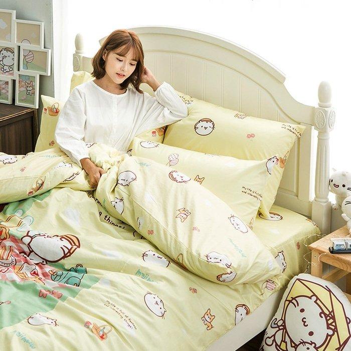 床包被套組 / 雙人加大【麻吉貓野餐派對-兩色可選】含兩件枕套 100%精梳棉 戀家小舖台灣製AAL312