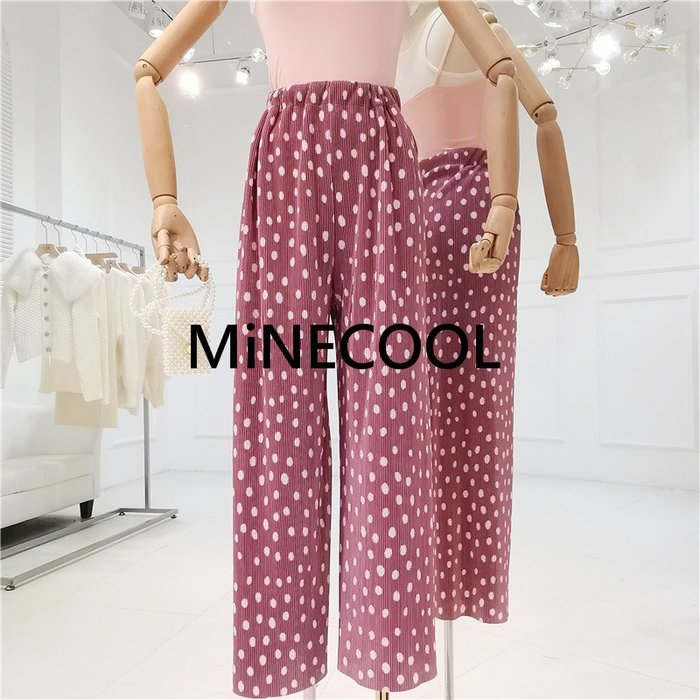 MiNE SHOP韓版度假風波點闊腿褲M9321-5四色 均碼
