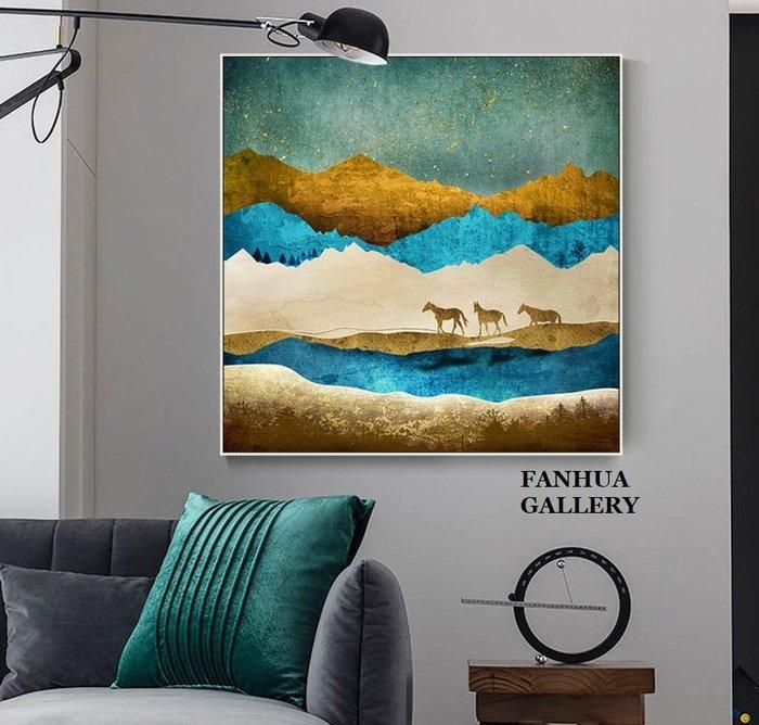 C - R - A - Z - Y - T - O - W - N 金藍色日出山脈風景裝飾畫簡約抽象駿馬麋鹿方形招財掛畫