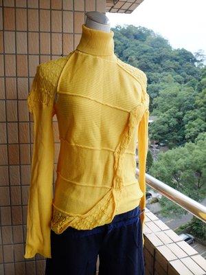 羅拉快跑 義大利製TREND Les Copains 100%wool變換針織創意造型高領黃色毛衣 陽光普照