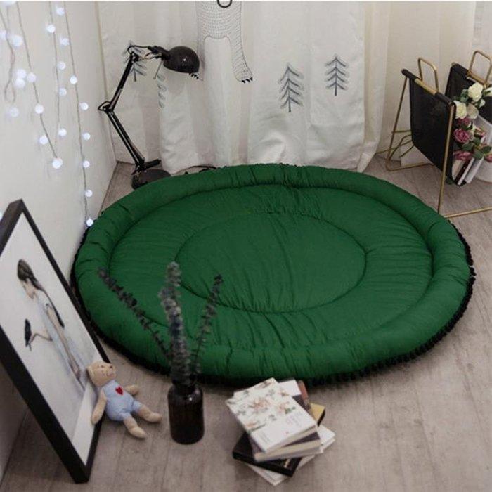 ins兒童涼席圓形地毯全棉簡約球球地墊臥室爬爬墊客廳帳篷游戲墊