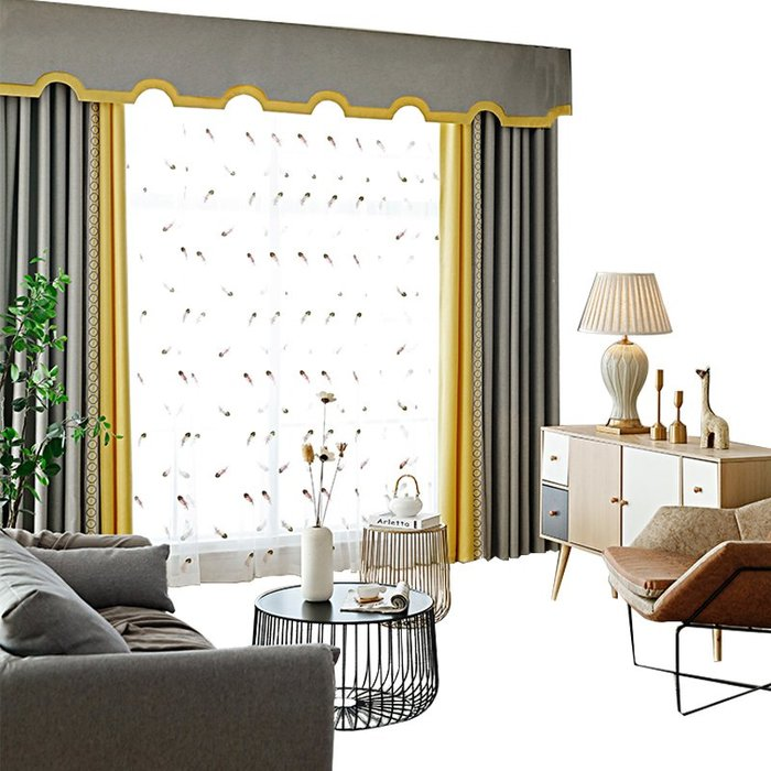 創意 居家裝飾 輕奢北歐窗簾成品客廳落地窗簾簡約現代遮光臥室窗簾新款凱倫