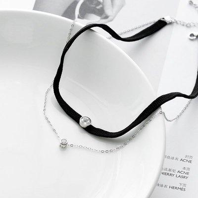 925純銀雙層脖頸項鏈女 日韓國個性潮流鎖骨鏈子黑色長款頸帶