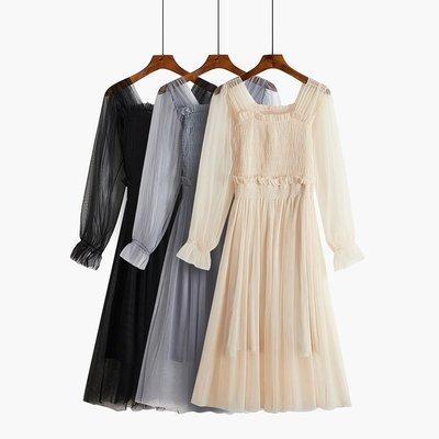 網紗連衣裙a字長袖女春裝2019新款潮一字肩很仙的法國小眾復古裙