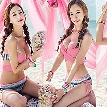 2019新款韓國代購正品粉色民族風交叉多種穿法比基尼泳衣 超性感顯胸剛托聚攏泳裝
